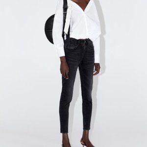 Zara Womens Jeans US 6 EUR 38 Black Mid Rise Skinn